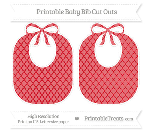 Free Lava Red Moroccan Tile Large Baby Bib Cut Outs