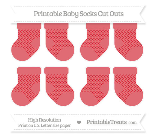 Free Lava Red Moroccan Tile Small Baby Socks Cut Outs