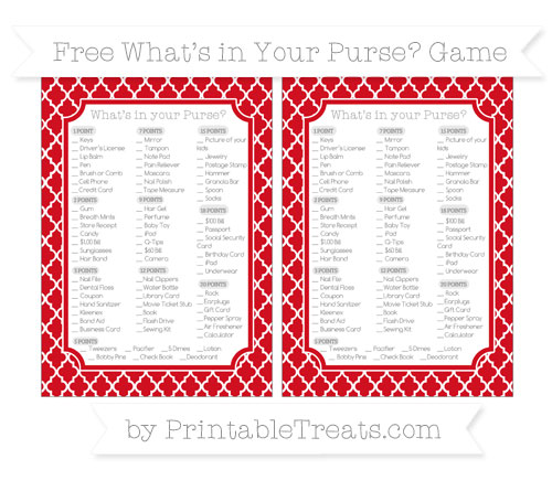 Free Lava Red Moroccan Tile What's in Your Purse Baby Shower Game