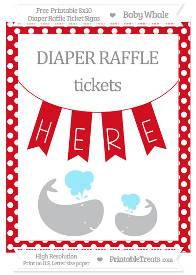 Free Lava Red Polka Dot Baby Whale 8x10 Diaper Raffle Ticket Sign