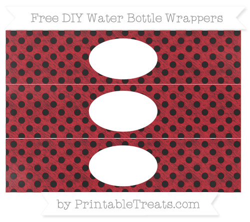 Free Lava Red Polka Dot Chalk Style DIY Water Bottle Wrappers