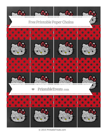 Free Lava Red Polka Dot Chalk Style Hello Kitty Paper Chains