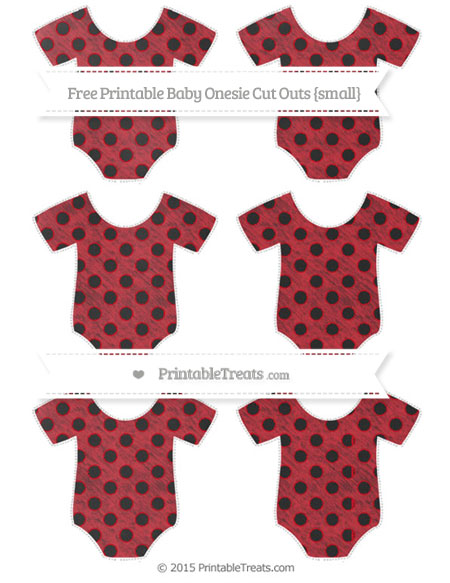 Free Lava Red Polka Dot Chalk Style Small Baby Onesie Cut Outs