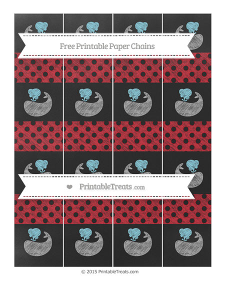 Free Lava Red Polka Dot Chalk Style Whale Paper Chains