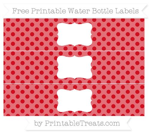 Free Lava Red Polka Dot Water Bottle Labels