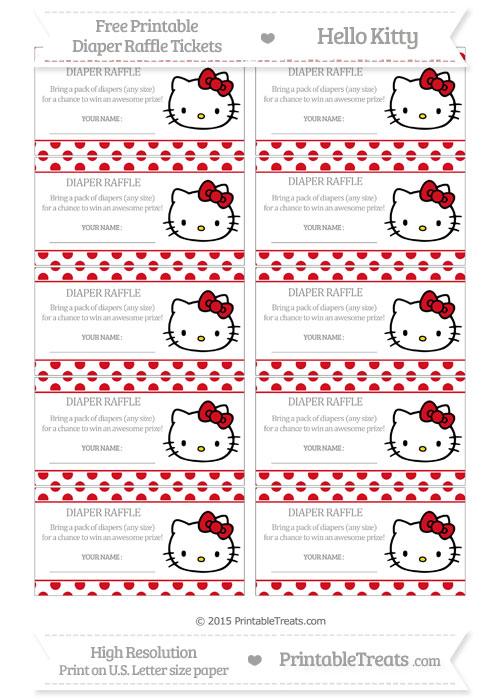 Free Lava Red Polka Dot Hello Kitty Diaper Raffle Tickets