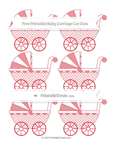 Free Lava Red Polka Dot Small Baby Carriage Cut Outs