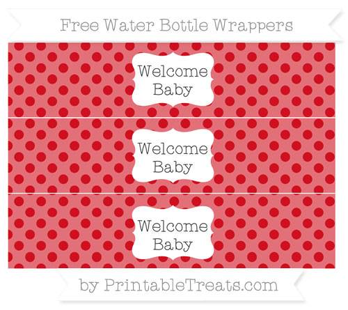 Free Lava Red Polka Dot Welcome Baby Water Bottle Wrappers