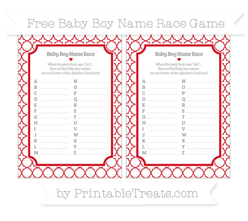 Free Lava Red Quatrefoil Pattern Baby Boy Name Race Game