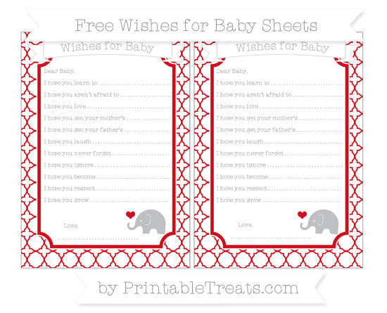 Free Lava Red Quatrefoil Pattern Baby Elephant Wishes for Baby Sheets