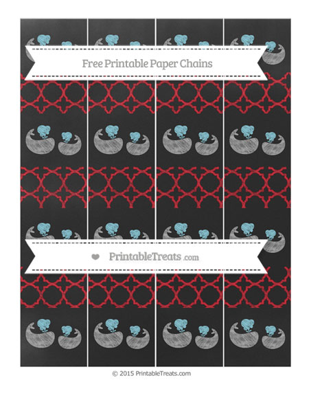 Free Lava Red Quatrefoil Pattern Chalk Style Baby Whale Paper Chains