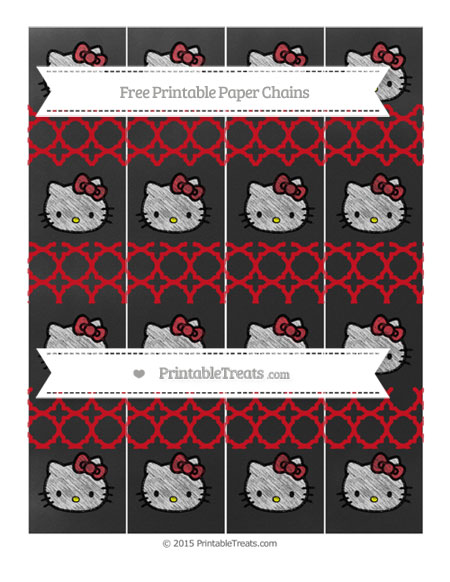 Free Lava Red Quatrefoil Pattern Chalk Style Hello Kitty Paper Chains