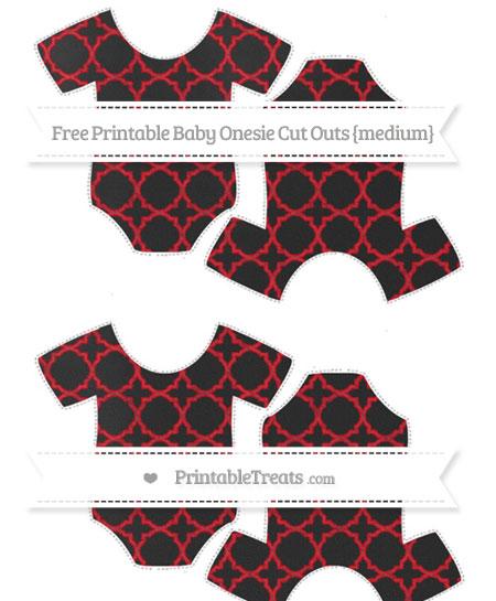 Free Lava Red Quatrefoil Pattern Chalk Style Medium Baby Onesie Cut Outs