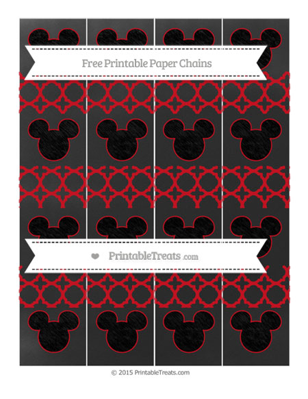 Free Lava Red Quatrefoil Pattern Chalk Style Mickey Mouse Paper Chains
