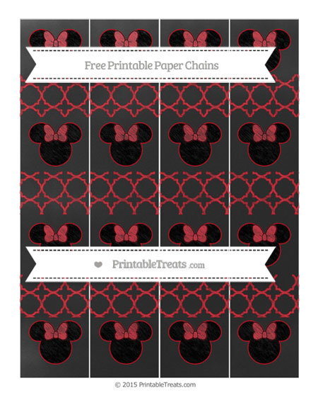 Free Lava Red Quatrefoil Pattern Chalk Style Minnie Mouse Paper Chains