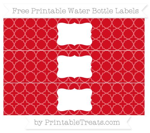 Free Lava Red Quatrefoil Pattern Water Bottle Labels