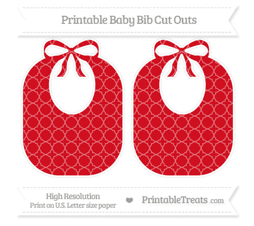 Free Lava Red Quatrefoil Pattern Large Baby Bib Cut Outs