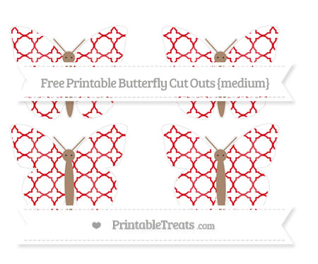 Free Lava Red Quatrefoil Pattern Medium Butterfly Cut Outs