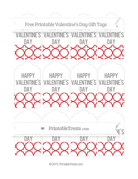 Free Lava Red Quatrefoil Pattern Valentine's Day Gift Tags