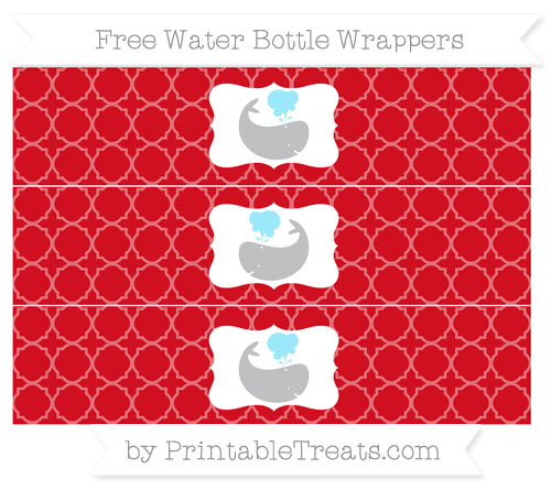 Free Lava Red Quatrefoil Pattern Whale Water Bottle Wrappers
