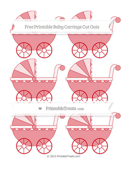 Free Lava Red Small Baby Carriage Cut Outs