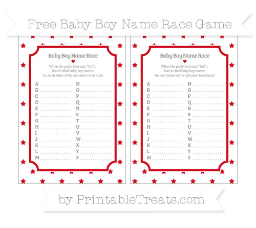 Free Lava Red Star Pattern Baby Boy Name Race Game