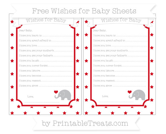 Free Lava Red Star Pattern Baby Elephant Wishes for Baby Sheets