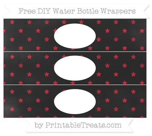 Free Lava Red Star Pattern Chalk Style DIY Water Bottle Wrappers