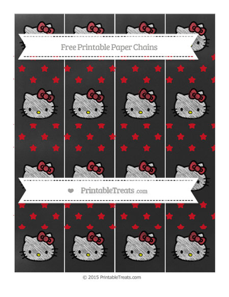 Free Lava Red Star Pattern Chalk Style Hello Kitty Paper Chains