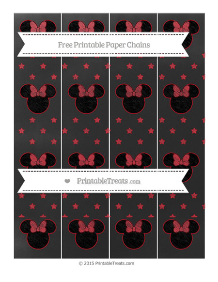 Free Lava Red Star Pattern Chalk Style Minnie Mouse Paper Chains