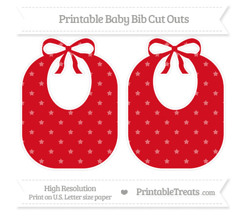 Free Lava Red Star Pattern Large Baby Bib Cut Outs