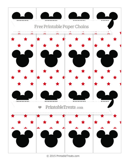 Free Lava Red Star Pattern Mickey Mouse Paper Chains