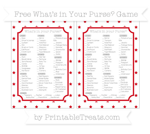 Free Lava Red Star Pattern What's in Your Purse Baby Shower Game