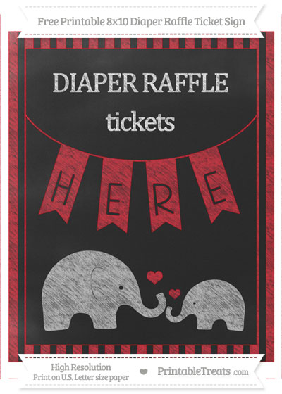 Free Lava Red Striped Chalk Style Elephant 8x10 Diaper Raffle Ticket Sign