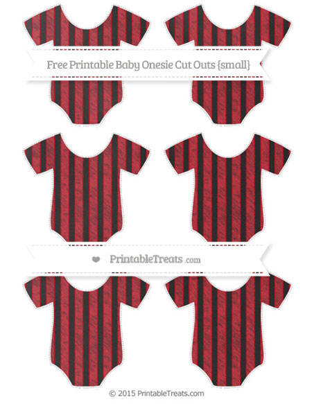 Free Lava Red Striped Chalk Style Small Baby Onesie Cut Outs