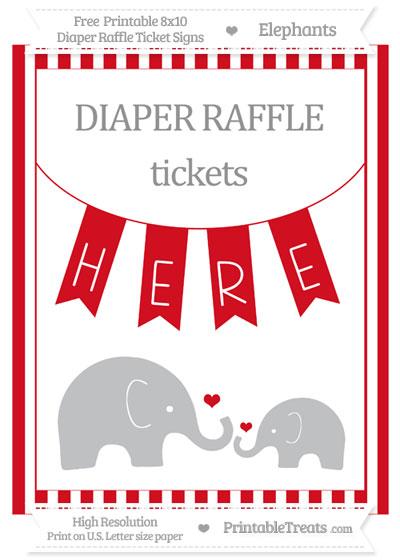 Free Lava Red Striped Elephant 8x10 Diaper Raffle Ticket Sign