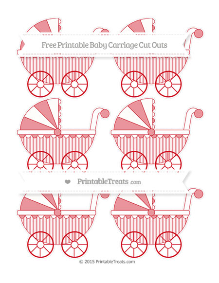 Free Lava Red Striped Small Baby Carriage Cut Outs