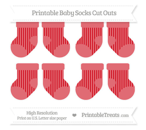 Free Lava Red Striped Small Baby Socks Cut Outs