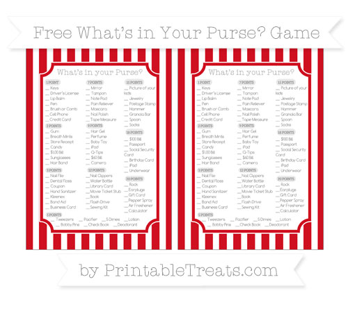 Free Lava Red Striped What's in Your Purse Baby Shower Game