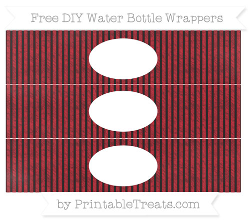 Free Lava Red Thin Striped Pattern Chalk Style DIY Water Bottle Wrappers