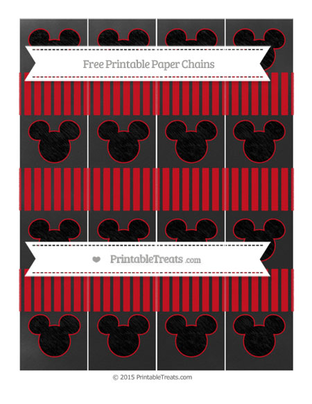 Free Lava Red Thin Striped Pattern Chalk Style Mickey Mouse Paper Chains