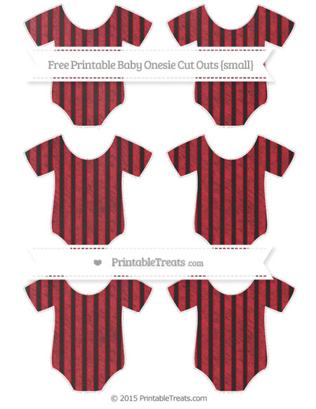 Free Lava Red Thin Striped Pattern Chalk Style Small Baby Onesie Cut Outs