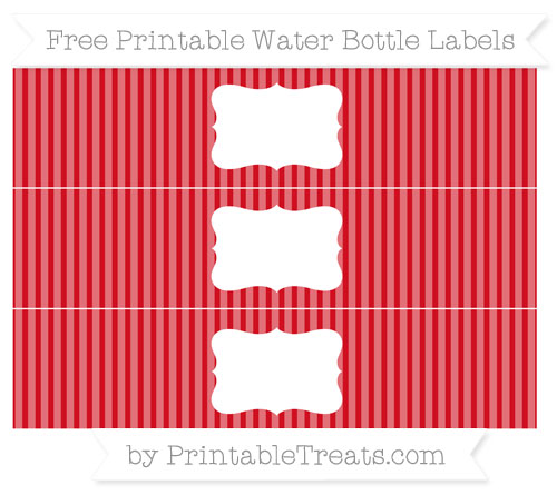 Free Lava Red Thin Striped Pattern Water Bottle Labels