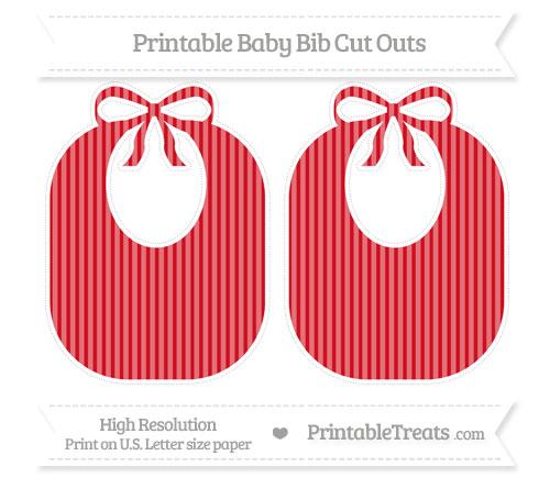 Free Lava Red Thin Striped Pattern Large Baby Bib Cut Outs