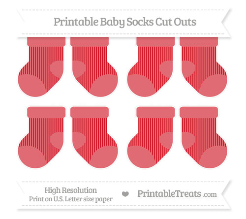 Free Lava Red Thin Striped Pattern Small Baby Socks Cut Outs