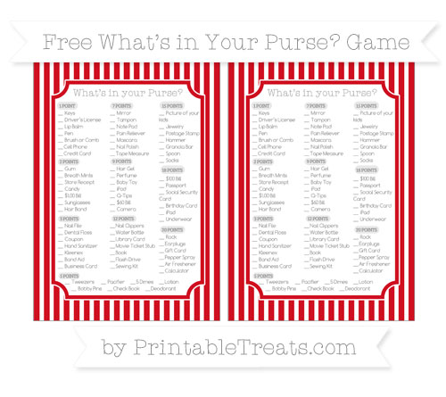Free Lava Red Thin Striped Pattern What's in Your Purse Baby Shower Game