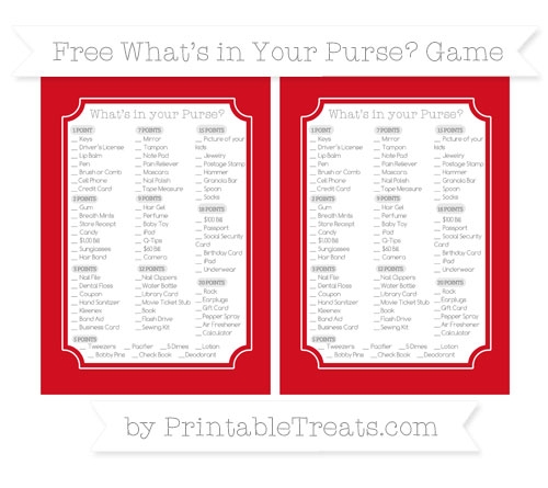 Free Lava Red What's in Your Purse Baby Shower Game