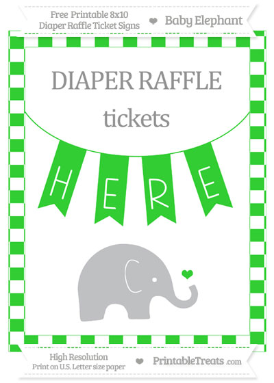 Free Lime Green Checker Pattern Baby Elephant 8x10 Diaper Raffle Ticket Sign