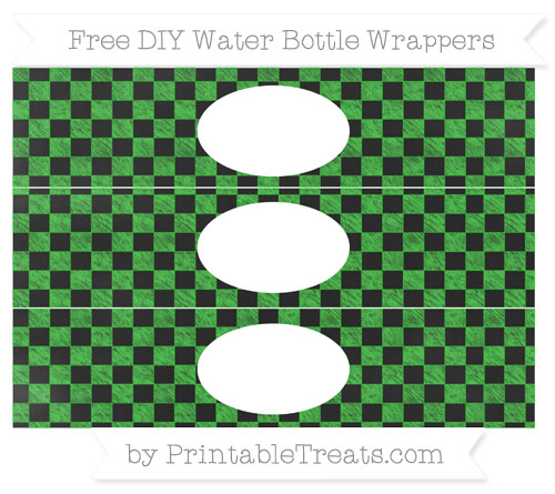 Free Lime Green Checker Pattern Chalk Style DIY Water Bottle Wrappers