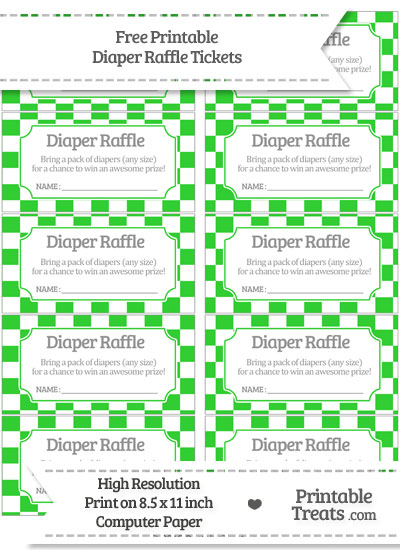 Free Lime Green Checker Pattern Diaper Raffle Tickets